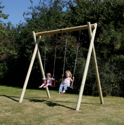 Double wooden swing frame with swing seat and baby seat