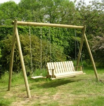 Wooden Swing frame with Louisiana rocking seat
