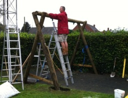 Expert wooden swing frame installation